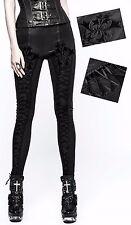 Leggings pantalon gothique lolita baroque broderies laçage plissé cuir Punkrave