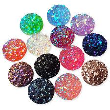 20pcs 12mm Glittery Round Gems Rhinestone Embellishments Flatback Cabochons