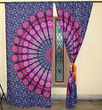 Peacock Mandala Cotton Hippie Tapestry Door Curtain Decor Window Panel Curtains