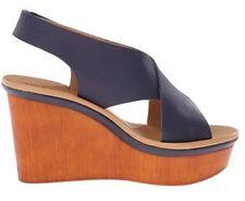 Women's Lucky Brand ODALIA Platform Wedge Sandals Heels Leather Moroccan Blue