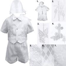 Infant Toddler Boys Baptism Short Sleeve Christening Vest Tuxedo Suit Sm to 4T
