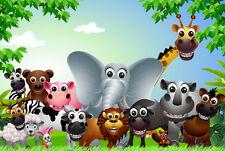 Childrens Cartoon Animals Home Decor Canvas Print, choose your size.