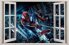 Adesivi Murali Finestra Effetto 3D SPIDERMAN decorazioni murali 57