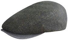Green Black Herringbone Wool Mix 5 Panel Peaky Blinders Style Flat Cap Hat KH40