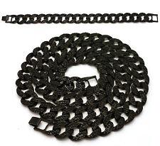 MENS BLACK ICED OUT MIAMI CUBAN LINK CHAIN NECKLACE & BRACELET SET 15mm HIP HOP