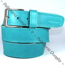Cintura Pelle Azzurro Blu Cuoio Uomo Donna Artigianale Made In Italy 4,0 cm c2