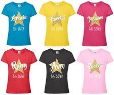Girls Personalised Name Big Sister T-Shirt Customised Printed Gold Glitter Star