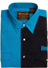 New Mens Two Tone Cotton Shirts-8008-B-Cobalt/Black  Western Shirt Brigalow