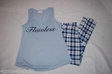 Womens Pajama Set FLAWLESS Blue Tank Top PLAID PANTS Soft S 4-6 M 8-10 L 12-14
