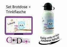 Brotdose Trinkflasche Pausenbox Lunchbox mit Namen Geschenk Schule Kiga Eule