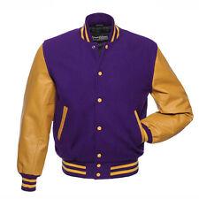 Stewart & Strauss Purple Wool & Gold Leather Varsity Letterman School Jacket