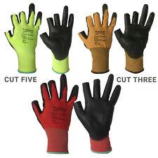 Three Digit Safety Work Gloves PU Coated Cut Level 1 / 3 / 5  Part Fingerless
