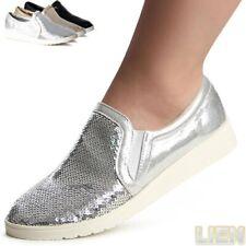Damen Sneakers Low Spitze Pailletten Helle Sohle Freizeit 79043 Trendy
