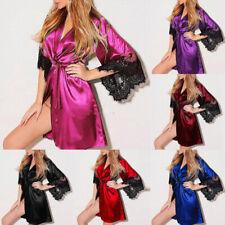 Womens Sexy Silk Satin Sleepwear Nightwear Robe Babydoll Kimono Nigh Gown Dress
