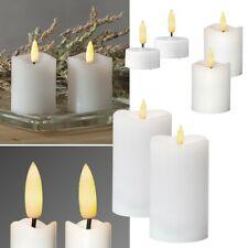 """2er Set LED Stumpen-Kerzen 3D Flame """" Echt-Wachs-Mantel with Timer Flickering"""