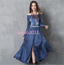 Women's Denim Vintage Off-shoulder Split Tunic Waistband Long Sleeve Swing Dress