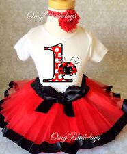 Ladybug Red Black Lady Bug Baby Girl 1st First Birthday Tutu Outfit Shirt Set