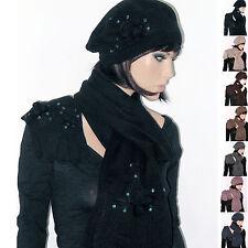 Completo CAPPELLO + SCIARPA + GUANTI Donna Lana basco colore nero ecc D0295