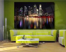 Singapore City at Night Skyline Canvas Art Poster Print Wall Decor