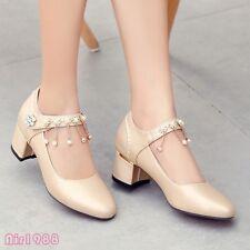 Luxury Womens Rhinestones Tassels Party Wedding Dress Shoes Mid Heels Pumps Shoe
