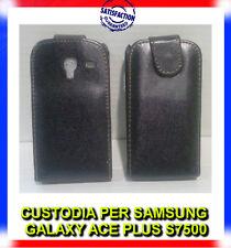 Pellicola+Custodia flipcase ECOPELLE NERA per Samsung Galaxy Ace Plus S7500 (H8)