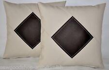 """2 Crema & Brown Diamond in finta pelle Cuscino Copre 16"""" 18"""" 20"""" Cuscini a Dispersione"""