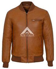 70'S RETRO BOMBER 275 Men's TAN Cool Classic Soft Italian Nappa Leather Jacket