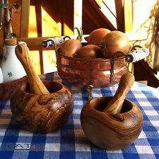 Mörser und Stößel aus Olivenholz Holz Geschenk Stoessel mediterran ab ca. 10cm Ø