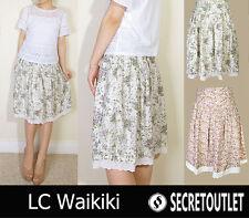 Lc waikiki neuf femme bleu & vert imprimé floral a-line jupe 10 12 14 16