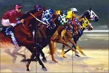 Ceramic Tile Mural Backsplash Senkarik Race Horses Jockey Art MSA041