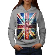 Gran Bretagna Casual Con Cappuccio Felpa Wellcoda Bandiera Union Jack Felpa con Cappuccio da Donna