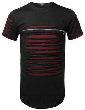 FashionOutfit Men's Cut Out Unique Design Front Zipper Short Sleeves Tee Shirt