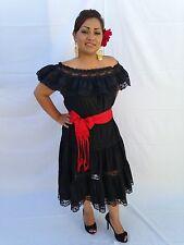 MEXICAN DRESS FIESTA, 5 DE MAYO OFF SHOULDER W/RUFFLE 2 PIECE w/ MEDIUM RED SASH