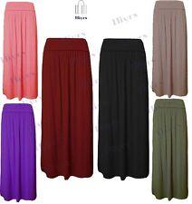 Womens Pleated Fold Over Waist Jersey lot Long Length Viscose Gypsy Maxi Skirt
