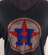 Women's Houston Astros Rhinestone baseball  V-neck T-Shirt Sweatshirt Bling