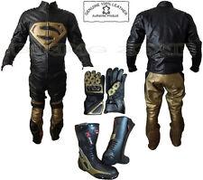 SUPERMAN STYLE BLACK & GOLD MENS MOTORBIKE / MOTORCYCLE LEATHER JACKET & SUIT