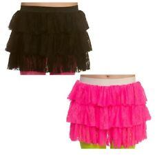 Womens 1980s Layered Lace Ra-Ra Skirt Fancy Dress Cheerleader Hot Pink Black