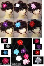 Wedding Bride or Bridesmaid - Floral Flower Festival Hair Clip - Satin Flower