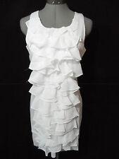 Nwt MINUET Tiered Chiffon Ruffle Dress women M White Frilly Fresh Formal Tuxedo