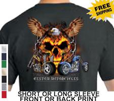 Biker Motorcycles American Chopper Eagle Skull Mens Short Or Long Sleeve T Shirt