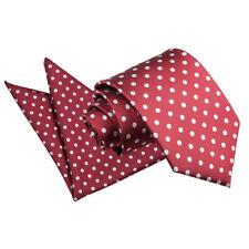 DQT Tissé Pois Bordeaux Pour HOMME Classique Slim skinny tie hanky Set