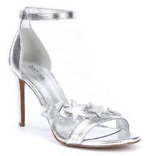 Women's  Michael Kors Lexie Dress Sandals Heels Leather Stars Metallic Silver