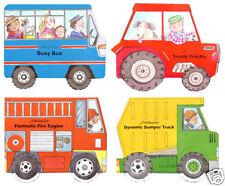 Wheelies Board Books Set of 4 Wheels turn on Tractor Bus Fire DumpTruck 3 sets