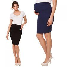 Happy Mama Women's Maternity Pencil Skirt Overbump Elastic Panel Pregnancy. 066p