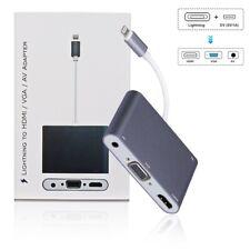 3-In-1 Lightning to HDMI+VGA+3.5mm Audio Digital AV iPhone 7/8/X/XS iPad 4 5 6 7