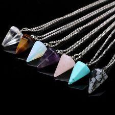 Gemstone Natural Crystal Quartz Healing Point Chakra Stone Pendant Necklace