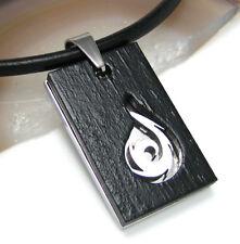 Edelstahl Halskette Herren Anhänger Holz Feuer Drachen Leder Halsband schwarz
