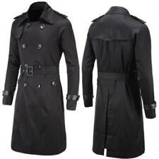 New Men's Slim Double Breasted Long Trench Coat Wind Breaker Jacket Black Coat