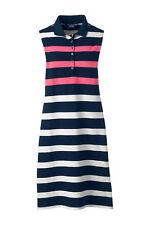 Lands End Women's Sleeveless Polo Dress Rose Petal Multi Stripe New