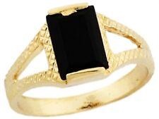 10k or 14k Real Yellow Gold Rectangular Black Onyx Stylish Baby Ring